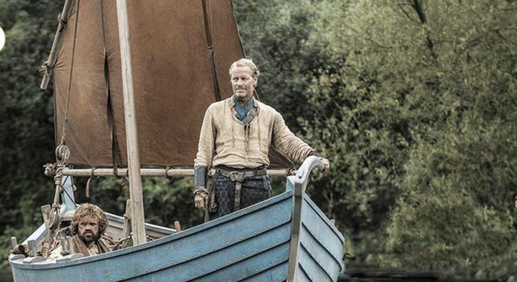 Jorah et Tyrion sur une barque
