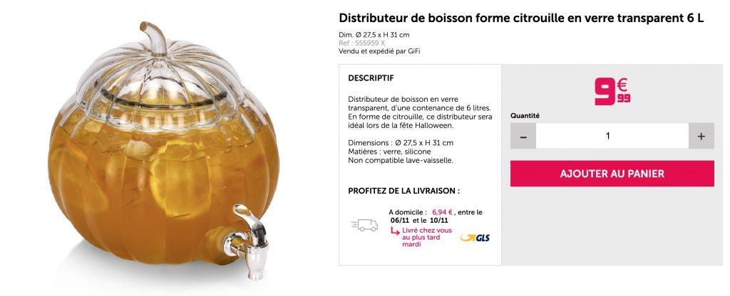 Article Gifi : Distributeur de boisson en forme de citrouille en verre.